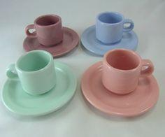 Espresso Cups and Saucers Vintage Pastel Color Espresso Cups Set of 4