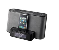 REFURBISHED - iPod + iPhone  Listen to the tunes stored on your iPod® and iPhone™ in virtually any room of your home with this speaker dock and clock radio.   $49.96