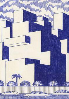 Buildings Kevin Lucbert - icono Cero: Dibujantes, Mándalas futuristas de Kevin Lucbert - #iconocero #drawings #sketches #monochromatic #blue