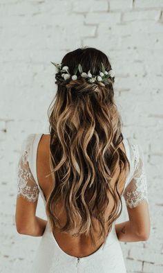 Wedding bride bridal hair hairstyle updo hairdo loose waves curls long down half up half down flowers crown