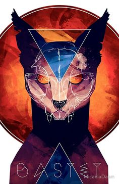 Bastet - Cat Goddess Mini Art Print by Micaela Dawn - Without Stand - x Fantasy Kunst, Fantasy Art, Art And Illustration, Bastet Goddess, Dessin Old School, Egyptian Cats, Dark Art, Amazing Art, Character Art