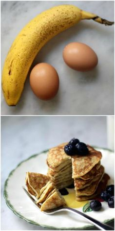 Yes, you can make really good pancakes with simply two eggs and a banana. This whips up in about 2 minutes and needs no special equipment beyond a fork. These 2-Ingredient Pancakes are dairy-free and gluten-free.