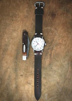 Age Leather Goods Horween Chromexcel watch strap+ Timex Weekender+ Dad's old Ka-bar knife