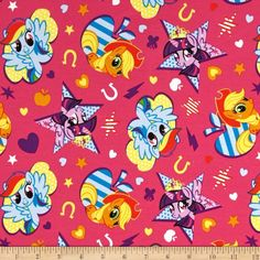 Hasbro My Little Pony Knit Cutie Toss Fuchsia from @fabricdotcom  Licensed by Hasbro to Springs Creative Products, this jersey knit features a smooth hand and 50% four-way stretch for added comfort and ease. This versatile fabric is perfect for making children's T-shirts and clothing. Colors include red, white, black, grey and yellow. This is a licensed fabric and not for commercial use.