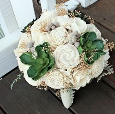 Ready to Ship! Alternative Bridal Bouquet, Succulents, Sola Flowers, Silver Brunia, Ivory, Wedding Flowers