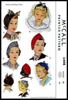 McCall 1498 Misses Hat Pattern Millinery Cloche Beret Fascinator Society… Hat Patterns To Sew, Mccalls Patterns, Vintage Sewing Patterns, Fabric Patterns, Sew Pattern, Retro Mode, Mode Vintage, Vintage Stuff, Vintage Accessoires