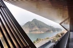 Archi-Union's Qiandao cable-car station features stacked forms that lean out towards a lake