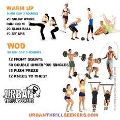 12 front squats, 50 Double under or 100 single jumps, 15 push press, 12 Knees to chest  urban thrill seekers