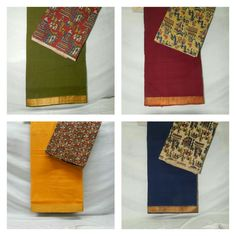 "These ""#Mangalagiri Nizam"" #sarees perfectly coordinated with #kalamkari blouse...   Price:-1360/-    Wash care:-Normal wash Shipment charges :- (subject to Telangana Rs:-25/- per kg) Other than Telangana Rs :-60/- per kg)   (for trade inquiries please contact our whatsapp no  Single / Retail Customer ...please contact 8099433433 B2B/Resellers/Bulk buyers...please contact 8801302000"