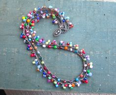 Lacy double multicolored crocheted necklace 2 layers by Sydnejo, $37.00