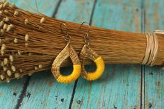 Golden Summer Earrings, Yellow and Golden Grass Earrings, Organic Earrings, Hand woven Drop Earrings