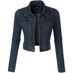LE3NO Womens Classic Cropped Denim Jean Jacket (98 BRL) ❤ liked on Polyvore featuring outerwear, jackets, tops, coats, coats & jackets, party jackets, blue jackets, pocket jacket, blue cropped jacket and maxi jacket