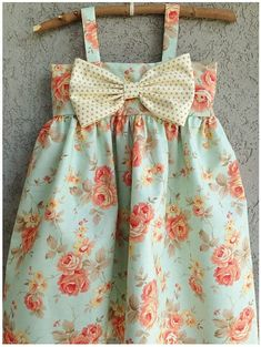 Custom Listing for Monica C. Mint floral Big Bow Dress size 3T on Etsy, $70.00