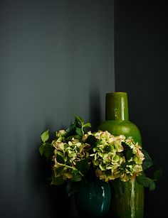 Moss green with Down Pipe grey paint from Farrow & Ball. Styled Mary Norden