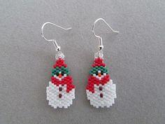 Beaded Little Snowman Earrings by DsBeadedCrochetedEtc on Etsy