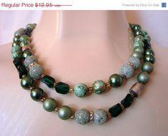 Lovely Vintage 50s Green Art Glass Bead Necklace / by JoysShop