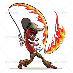 Buy Chili Pepper with a Lash of Fire by on GraphicRiver. Humorous illustration of red hot chili pepper in cowboy clothes with a lash of fire. Funny Vegetables, Chili Cook Off, Drawing Expressions, Hottest Chili Pepper, Stuffed Hot Peppers, Pictures To Paint, Cute Drawings, Vector Art, 1