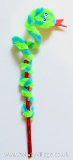Snake pipe cleaner snake pencil topper for Sis for market day
