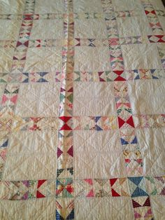 Antique Vintage Handmade Jacobs Ladder Cutter Quilt Triangles Pink 68 x 80
