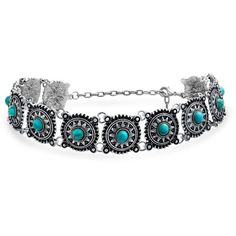 Bling Jewelry Bling Jewelry Southwestern Style Rhodium Plated... ($17) ❤ liked on Polyvore featuring jewelry, necklaces, grey, turquoise necklace, disc necklace, turquoise jewelry, western necklace and beaded choker