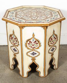 Moroccan Octagonal Hand Painted Cream Color Side Table
