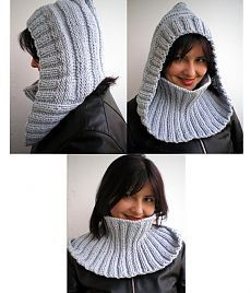 Inspiration for crochet Tejido a palillo Crochet Hooded Scarf, Knit Cowl, Knit Or Crochet, Knitted Shawls, Crochet Shawl, Loom Knitting, Hand Knitting, Knitting Patterns, Crochet Patterns