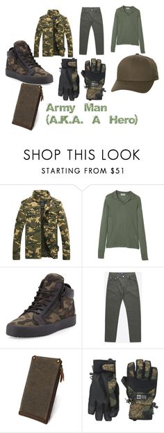 """""""Army Man (A.K.A. A Hero)"""" by aubsmorales ❤ liked on Polyvore featuring MANGO, Giuseppe Zanotti, Wood Wood, 686, Flexfit, men's fashion and menswear"""