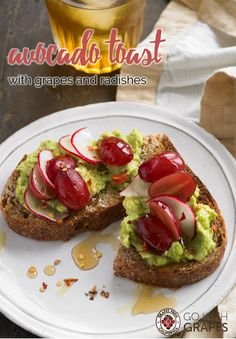From breakfast hour to happy hour, any time is a great time for avocado toast with California grapes and radishes. Go with Grapes Smart Snacks, Healthy Snacks, Healthy Eating, Healthy Breakfasts, Breakfast Recipes, Dessert Recipes, Grape Recipes, California Food, Brunch Menu