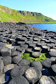 """CALZADA DE LOS GIGANTES (Antrim, Irlanda del Norte) – Esta fotografía de la famosísima """"Calzada de los Gigantes"""" muestra un pavimento, literalmente, formado por columnas de basaltos vistos desde su parte superior"""