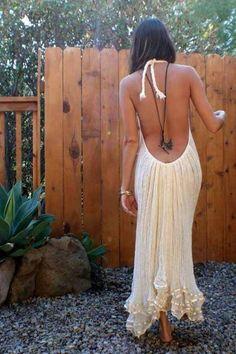 Sexy Backless Summer Dress, Boho chic style, modern hippie look. For the BEST Bohemian fashion trends FOLLOW http://www.pinterest.com/happygolicky/the-best-boho-chic-fashion-bohemian-jewelry-gypsy-/ now