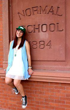 {School's Out - Simply Audree Kate} Target dress, H&M jean shirt, converse, Loincloth LA hat