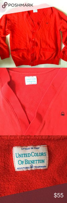🎈Vintage 80's Benetton cardigan medium red Excellent condition red 100% cotton 80's vintage Benetton cardigan with two front pockets.  5 button front. Sweatshirt by Benetton.  🛍BUNDLE=SAVE  🚫TRADE  💯Authentic   🖲USE BLUE OFFER BUTTON TO NEGOTIATE   ✔️Ask Questions Not Answered in Description--Want You to Be Happy! United Colors Of Benetton Tops Sweatshirts & Hoodies