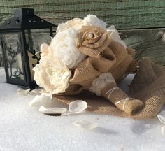 Check out this item in my Etsy shop https://www.etsy.com/listing/217935595/burlap-wedding-bouquet-shabby-chic