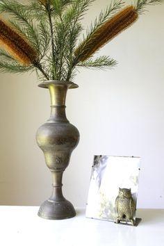 SOLD Large retro brass vase/ 1970s etched metal by RetroandRosesvintage https://www.etsy.com/au/shop/RetroandRosesvintage