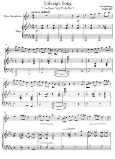 Grieg - Solveigs Song from Peer Gynt sheet music for Tenor Saxophone