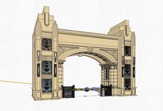 Entrance Design, Entrance Gates, Main Entrance, Gate Design, 3d Design, 3d Model Architecture, Concept Architecture, Architecture Details, Drawing Block