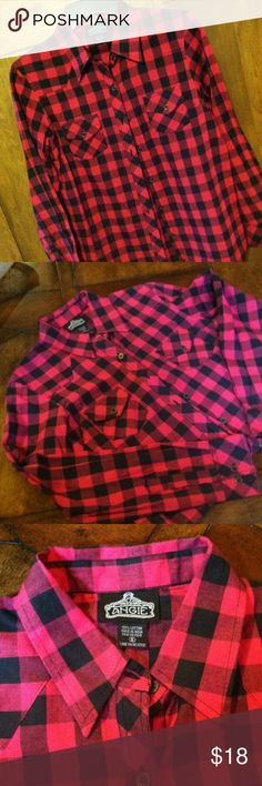 Bottom up shirt Pink and black size small button up shirt - nwot Tops Button Down Shirts