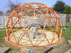 "Colin posted this idea for a dome: ""Anyone with reasonable DIY woodworking skills could build it.I used 75mm diameter (16 bar) pvc pressure pipe for the hubs."" Love it!"