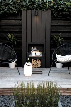 Small Backyard Patio, Backyard Patio Designs, Backyard Landscaping, Patio Ideas, Modern Backyard Design, Back Gardens, Outdoor Gardens, Modern Gardens, Grey Gardens
