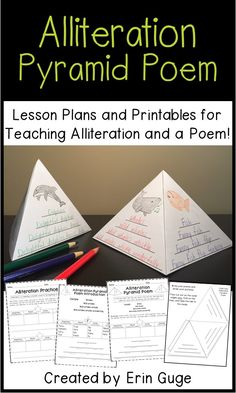This four-day lesson plan with printables will have your students understanding and writing alliterative sentences, culminating in a fun Alliteration Pyramid Poem! There are 3 different levels for a final copy of the pyramid poem. The Alliteration Pyramid Poems make use of some parts of speech (nouns, verbs, adjectives, and adverbs), so this activity incorporates a number of skills!