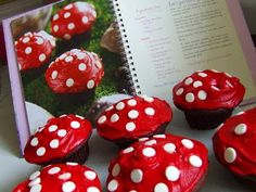 Waltzing Matilda: Woodland Fairy Mushrooms With cupcakes this cute, I know a little girl who may be having a fairy birthday party this summer! Mushroom Cupcakes, Fairy Birthday Party, 4th Birthday, Birthday Parties, Alice In Wonderland Birthday, Cute Cupcakes, Ladybug Cupcakes, Woodland Fairy, Mad Hatter Tea
