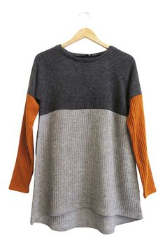 Ribbed Color Block Sweater  Grey + Light Grey with Copper Sleeves  Long Sleeves  Fits True to Size