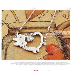 Fashionable Rhinestone Embellished Running Cat Necklace  - $1.68