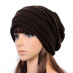 Hot New winter Gorro de lana Knitted baggy crochet cap women Beret beanie  hat bonnets femme 45c1a04213a