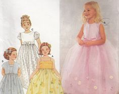 "Flower Girl Dress Pattern Jacket Full Skirt Spaghetti Straps Overskirt Girl's Dress Sizes 6 7 Chest 25-27"" ( 64-66 cm) Simplicity 9147 S"
