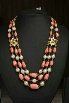 pearl coral necklace with diamond/emerald/ruby mogappu