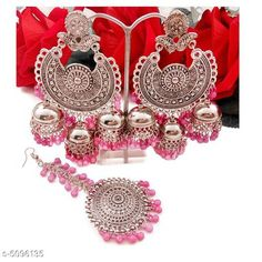 Jewellery Set Arya Stylish Women's Earrings and Maang Tikka  Base Metal: Alloy Plating: Silver Plated Stone Type: Artificial Stones Sizing: Non-Adjustable Type: 1 Pair of Jhumkas and Maang Tikka  Multipack: 1 Sizes Available: Free Size   Catalog Rating: ★4 (553)  Catalog Name: Arya Stylish Women's Earrings and Maang Tikka CatalogID_751135 C77-SC1093 Code: 581-5096135-