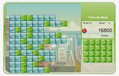 """""""Torre de letras"""", al modo de tetris, va presentando palabras incompletas que hay que completar con las letras que aparecen a la derecha. Si no se completan con bastante rapidez, las palabras se acumulan formando una torre que llega hasta arriba y finaliza el juego. Con tres niveles, desde fácil a más complicado."""