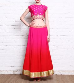 Pink Dabka & Pitta Embroidered Raw Silk Crop Top With Georgette Lehenga Skirt