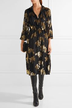 Adam Lippes | Flocked jacquard midi dress | NET-A-PORTER.COM